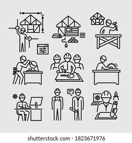 Architektursymbole für Bauarbeiter-Builder-Carpenter-Workstation-Vektorliniensymbole