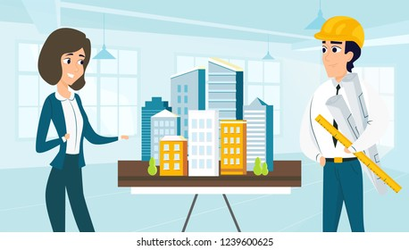 Architect and customer look at the layout the city. Vector illustration of working cartoon characters in coworking studio. The concept of construction, architecture, design