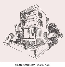 Architect draft of modern new house, engraving vector illustration, building design concept, hand drawn