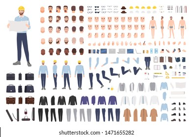 Architect or engineer DIY kit. Collection of male cartoon character body parts, facial expressions, gestures, clothes, working tools isolated on white background. Colorful flat vector illustration.