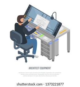 Architect equipment concept background. Isometric illustration of architect equipment vector concept background for web design