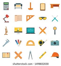 Architect equipment icons set. Flat set of architect equipment vector icons for web design
