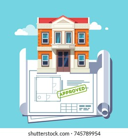 Building permit stock vectors images vector art shutterstock architect floor plan blueprint of georgian architecture style building approved house plan stamp flat malvernweather Gallery