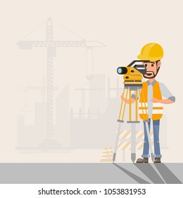 architect, foreman, engineer is working with surveyor's telescope  manage a construction project at building site.vector illustration
