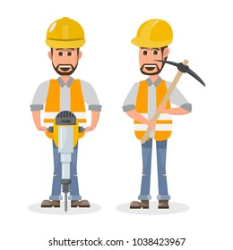 architect, foreman, engineering construction worker in different character. vector illustration cartoon character design