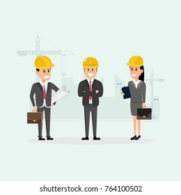 architect, foreman, engineering construction worker manage a project at building site.vector illustration industrial factory concept