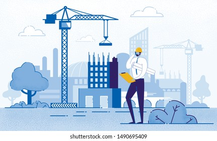 Architect Holding Blueprints near Construction Flat Cartoon Vector Illustration. Engineer Talking on Phone near New Building. Man with Project in Helmet and Suit. Crane Constructing House.
