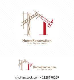 Architect house logo, architectural and construction design vector.