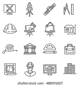 architect icons set. design houses and construction of buildings collection. Thin line design