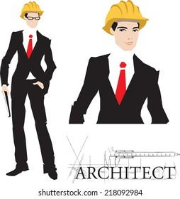 Architect illustration with typography. Set. Vector.Eps 10.