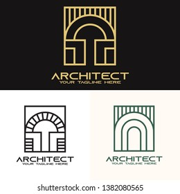 Architect logo. Antique arch in a square logo template. unique arch vector design. luxury construction logotype - Vector