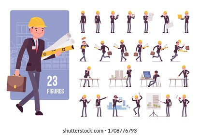 Architect man, creating design character set. Male worker with tablet, blueprints, caliper tool technical equipment on industrial house projects. Full length, different view, gestures, emotions, poses