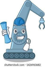 Architect mechatronic robotic arm in mascot shape