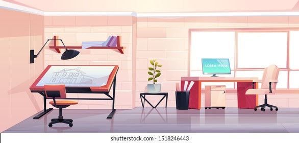 Architect office with blueprint. Empty designer studio interior design with adjustable drawing desk, chair and computer. Workshop or engineer room, workspace for artist. Cartoon vector illustration
