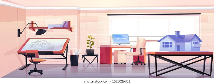 Architect office with blueprint and house mock up projection. Empty designer studio workspace interior design with adjustable drawing desk and table with building model. Cartoon vector illustration