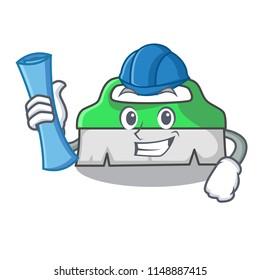 Architect scrub brush character cartoon