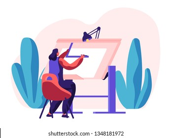 Architect Woman Working on Construction Project. Engineer Person Drawing Draft. Worker Engineering Sketch on Architectural Board in Office. Professional Drafting Job. Flat Cartoon Vector Illustration