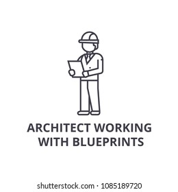 architect working with blueprints vector line icon, sign, illustration on background, editable strokes