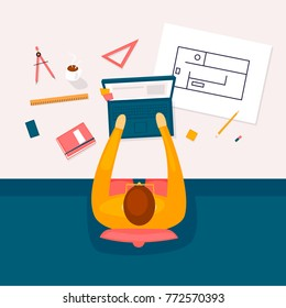 Architect works at the computer, workplace, top view. Flat design vector illustration.