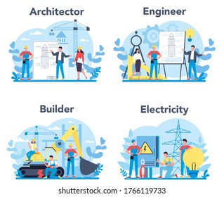 Architecting and building profession set. Construction and engineering workers. Collection of occupation, male and female worker in the uniform. Isolated vector illustration in cartoon style