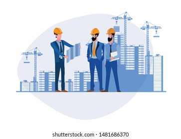 Architects discuss a project. Construction of buildings according to drawings. Erection of buildings. Flat modern vector illustration of architects in cartoon style on a construction site background