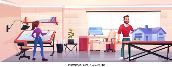 Architects working in office with blueprint and building mockup. Designers man and woman create house project in design studio workshop or engineer room, artist workspace Cartoon vector illustration