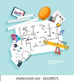 Architects workplace. Flat design.