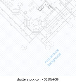 Architectural abstract background.  Vector blueprint. Detailed floor plan.