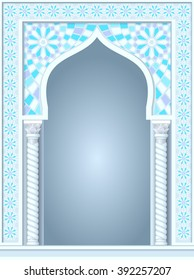 Architectural arch in Arabic or other Eastern style, entrance, doorway