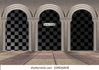Architectural arches, tiled floors and exposed brick walls, floor-to-ceiling Windows of the Palace or castle of stone exit, 3D vector realistic isolated on transparent background images