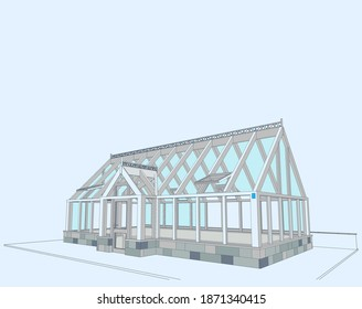 Architectural author's project of a glass house-winter garden with a forged decoration of the roof ridge on a stone base. Blueprint, perspective view. Vector.