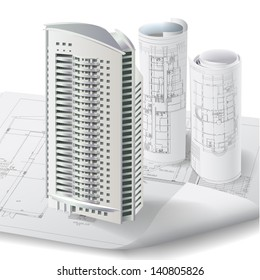 Architectural background with a 3D building model and rolls of drawings. Part of architectural project, architectural plan, technical project, construction plan
