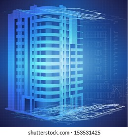 Architectural background with a 3D building model. Part of architectural project, architectural plan, technical project, architecture planning on paper, construction plan