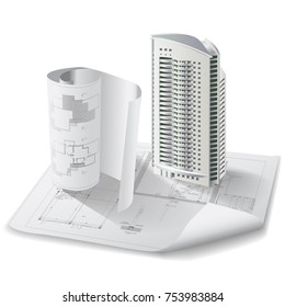 Architectural background with a 3D building model. Vector illustration