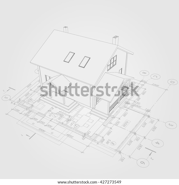 Architectural Background 3d House Model Detailed Stock