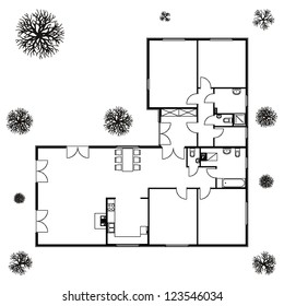 architectural background. blueprint of house