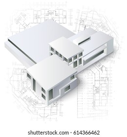 Architectural background with a building model. Part of architectural project, architectural plan, technical project, architecture planning on paper, construction plan