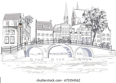 The architectural background with dutch houses in Holland, Netherlands.