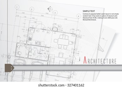 Architectural background on drawing table. Vector.