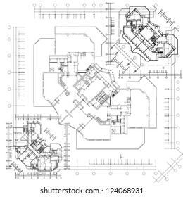 Architectural background. Part of architectural project, architectural plan, technical project, architecture planning on paper, construction plan