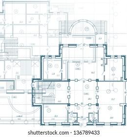 Architektonischer Hintergrund. Teil des Architekturprojekts, des Architekturplans, des technischen Projekts, des Zeichnens technischer Briefe, der Planung der Architektur auf dem Papier, des Bauplans