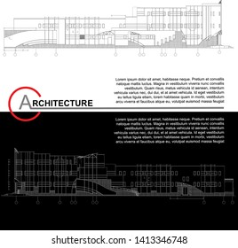 Architectural background. Part of architectural project, architectural plan, technical project, construction plan. Vector illustration