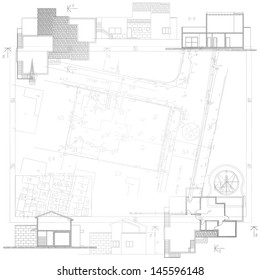 Architectural background. Part of architectural project, architectural plan, technical project, construction plan
