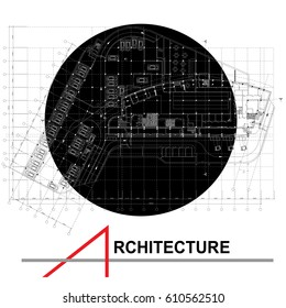 Architectural background. Part of architectural project, architectural plan, technical project, design on paper, construction plan