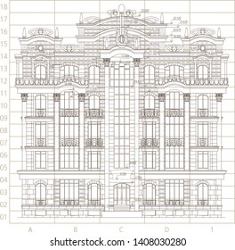 Architectural background. Part of architectural project. Vector illustration