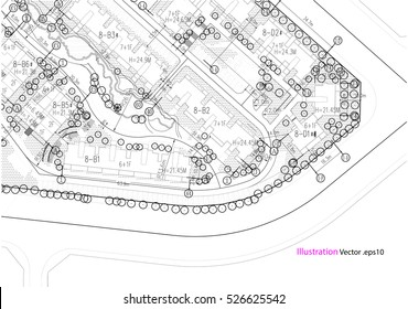Architectural background, architectural plan, construction drawing landscape
