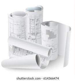 Architectural background with rolls of drawings for your business site