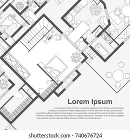Architectural background template. House plan on white background with place for text. Vector illustration.
