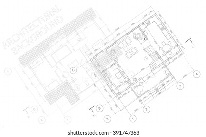 Architectural background. Vector blueprint. Detailed floor plans suburban house.