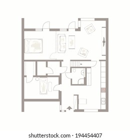 Architectural background. Vector drawing of building plan with furniture on white background